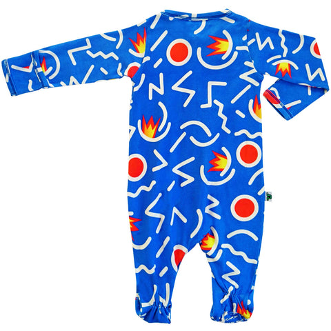 Full sleeve footie onesie with an abstract, primary-coloured design in the style of Keith Haring