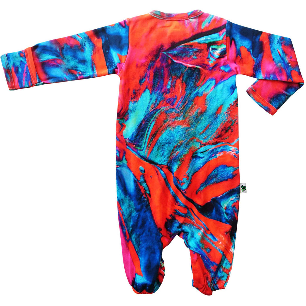 Full sleeve footie onesie with a print of teal, red and fuschia paintbrush strokes
