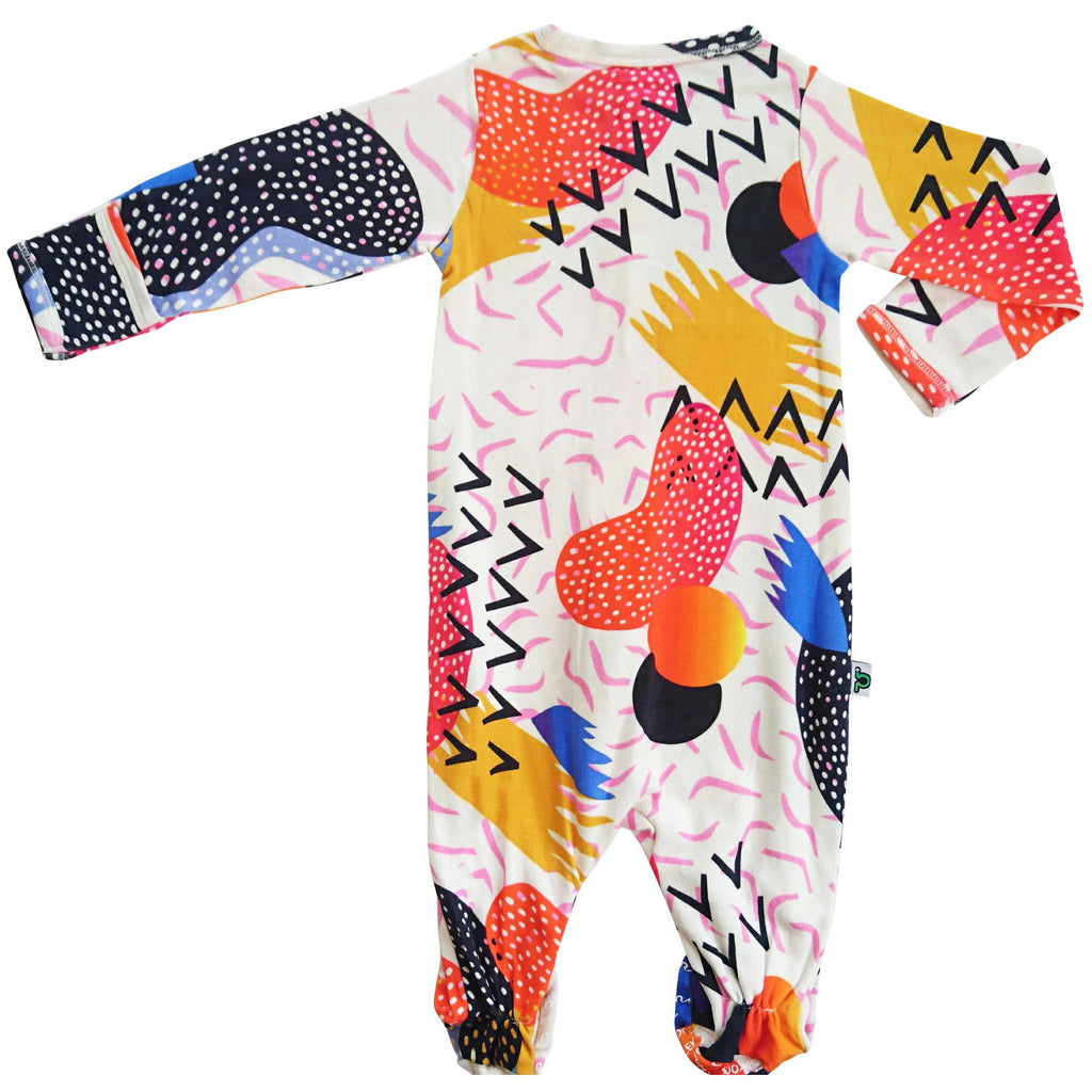 Full sleeve footie onesie with a kitschy, 80s pop art print design