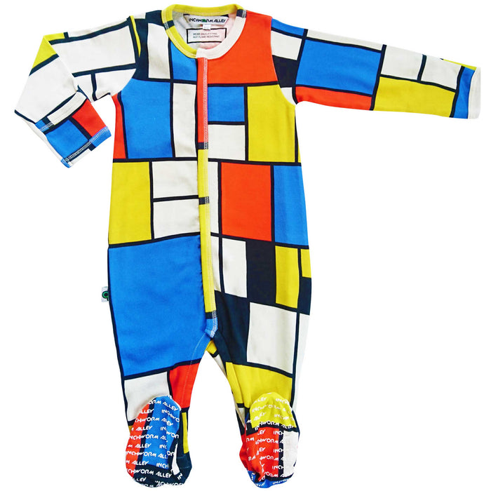 "Full sleeve footie onesie with all over print of Piet Mondrian's ""Composition II in Red, Blue, and Yellow"""