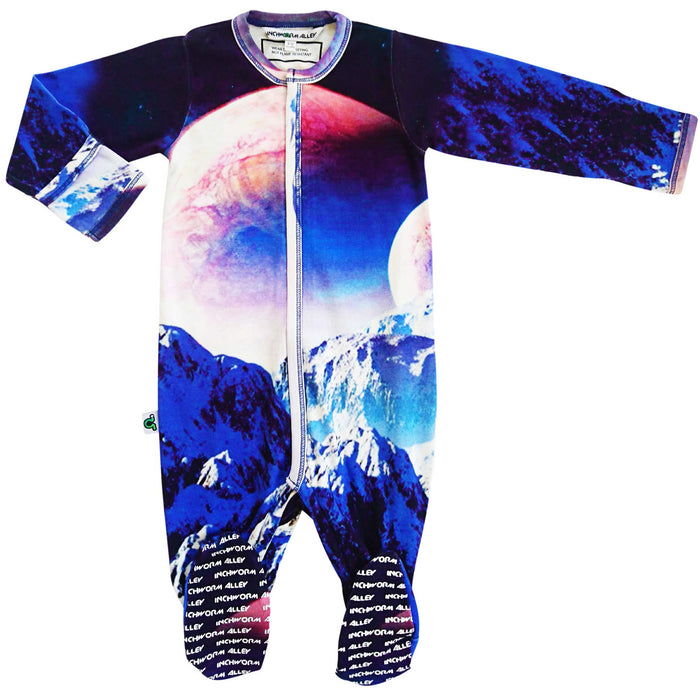 Full sleeve footie onesie printed with a sci-fi fantasy depiction of moon or planet rising up over the horizon