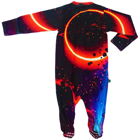 Full sleeve, footie onesie printed with a sci-fi fantasy depiction of a solar eclipse showing a ring of fire
