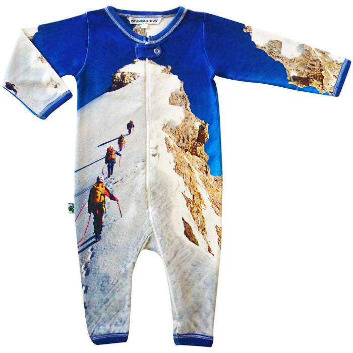 Long sleeve, full leg coverall romper with print of hikers in the snow summiting a mountain