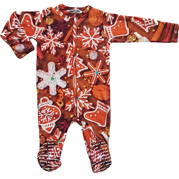 Full sleeve footie onesie with print of gingerbread cookies in the shape of snowflakes, Christmas ornaments and stockings
