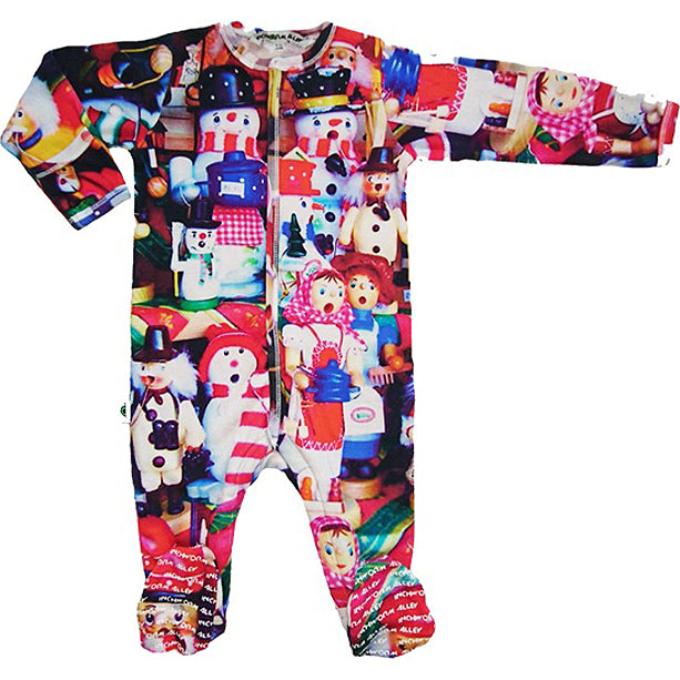 Full sleeve footie onesie with print of brightly coloured, handcrafted wooden toys at a Christmas market