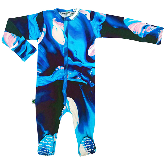 Full sleeve footie onesie with print of oil painting in blue, indigo, pink and white