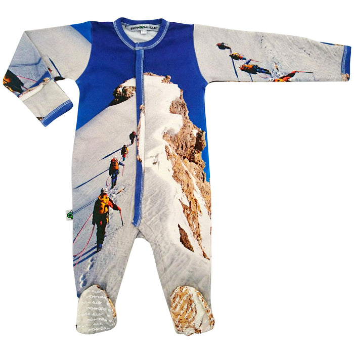 Long sleeve footie with print of hikers in the snow summiting a mountain