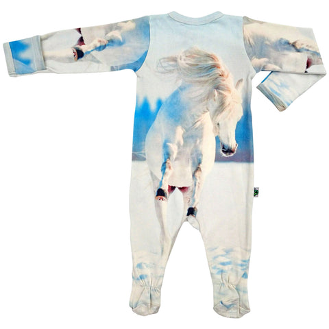 Long sleeve footie printed with a white, galloping wild horse in the snow