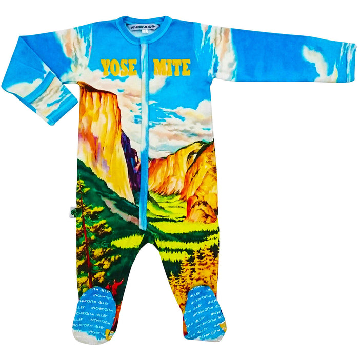 Long sleeve footie with print of vintage travel poster depicting an illustration of Yosemite National Park