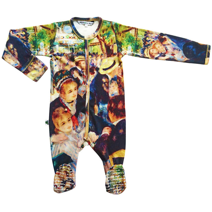 Long sleeve footie printed with an 1876 painting by French artist, Pierre-Auguste Renoir, titled Bal du moulin de la Galette and is one of Impressionism's most celebrated masterpieces