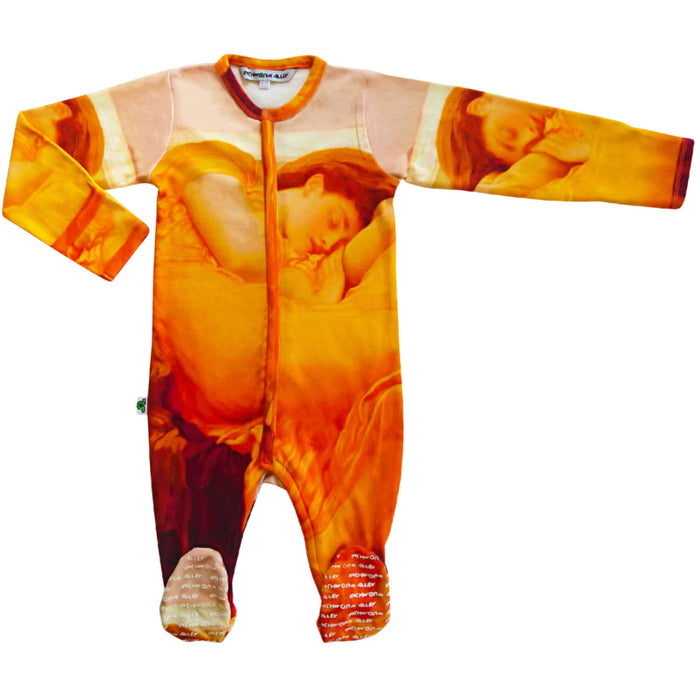 Long sleeve footie with a vivid print of the artist, Leighton's, masterpiece titled Flaming June