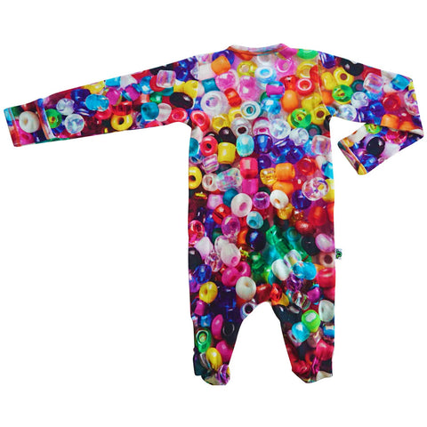 Long sleeve footie with an all-over print of multicolor beads