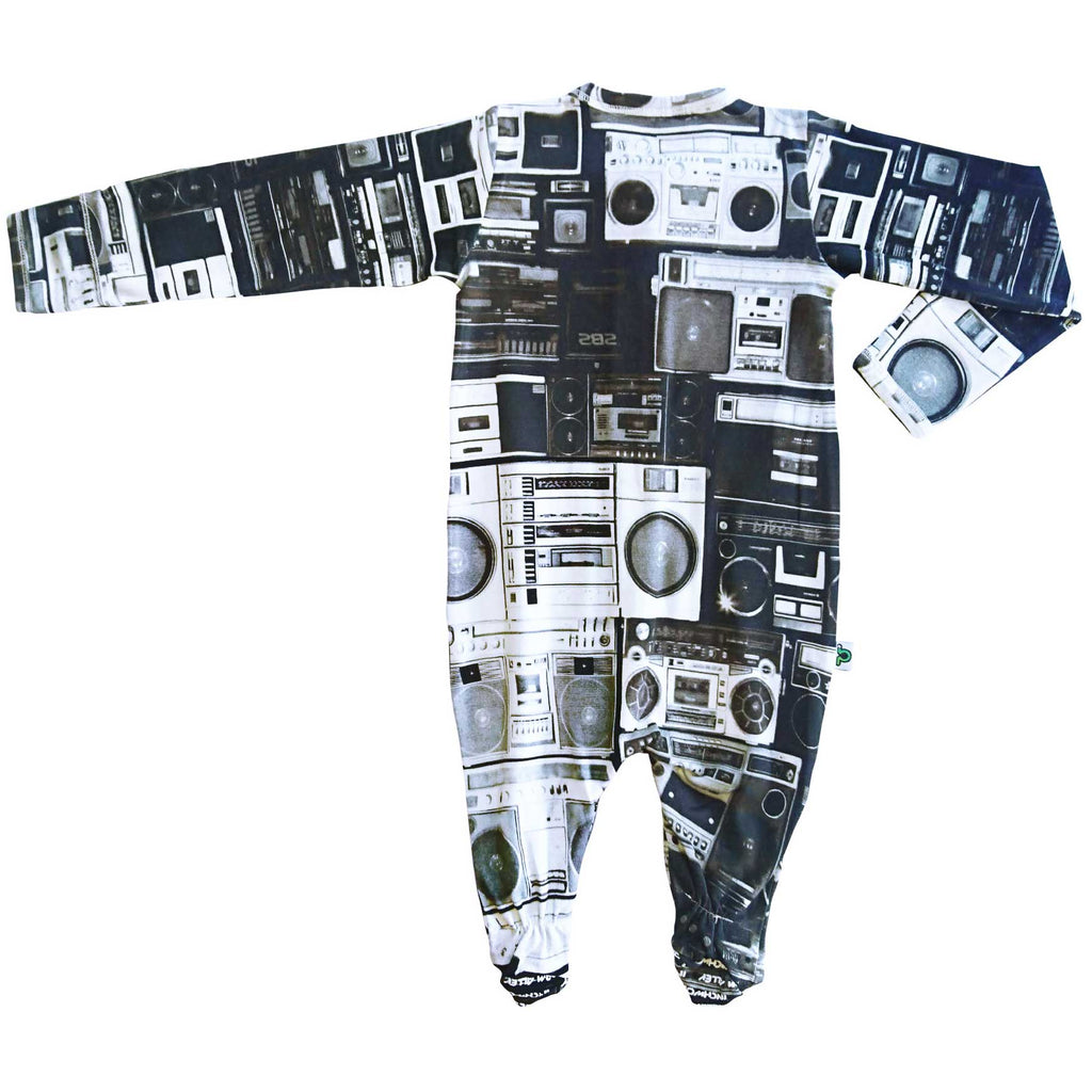 Long sleeve footie printed with a wall of boom boxes in black and white