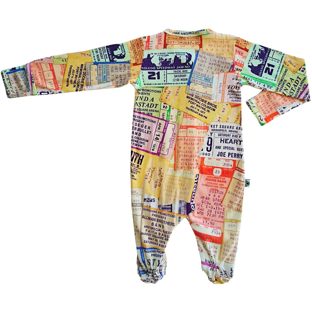 Long sleeve footie with an all-over collage of concert ticket stubs from legendary musicians and iconic artists