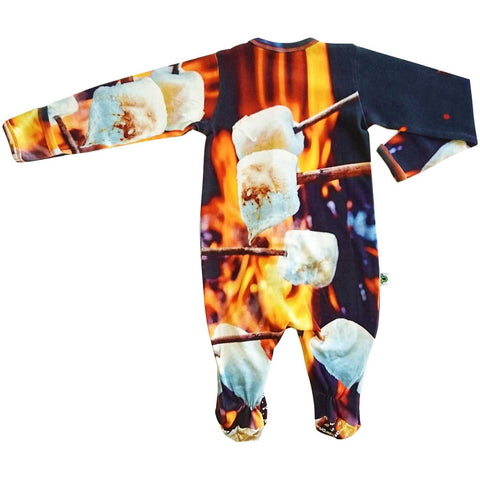 Long sleeve footie with a large-scale print of marshmallows being roasted on an open campfire