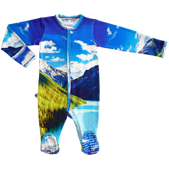 Long sleeve footie with a stunning print of blue skies, treed mountains and a lake