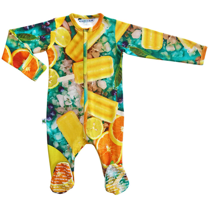 Long sleeve footie with an all-over print of orange popsicles and citrus fruits like mango, orange and lemon slices surrounded by ice cubes