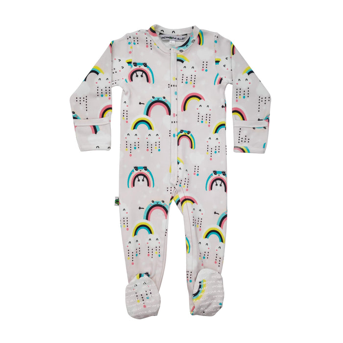Long sleeve footie with all-over print of cute, smiley rainbows and fluffy rainclouds
