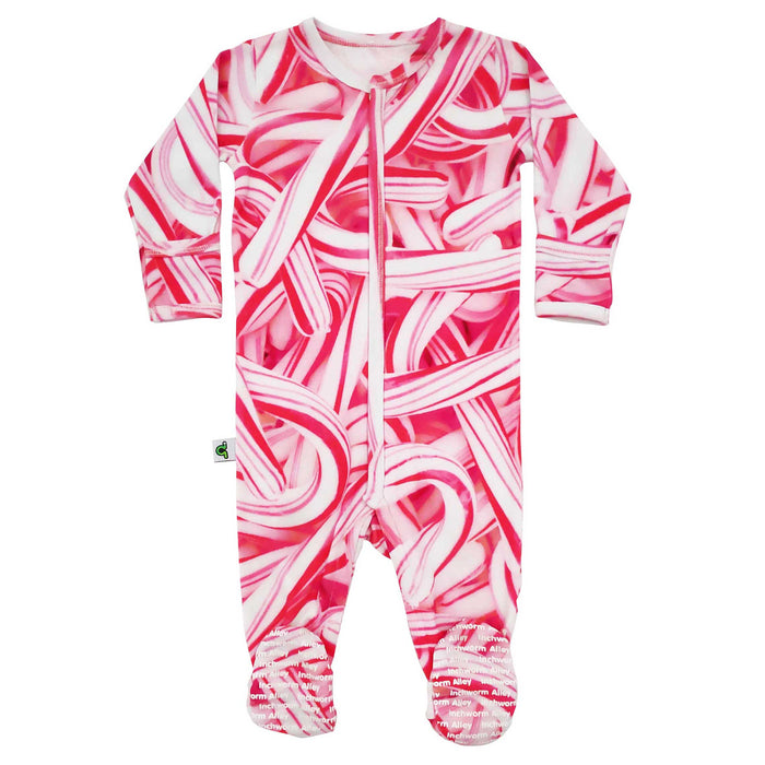 Long sleeve footie with all-over print of red and white candy canes