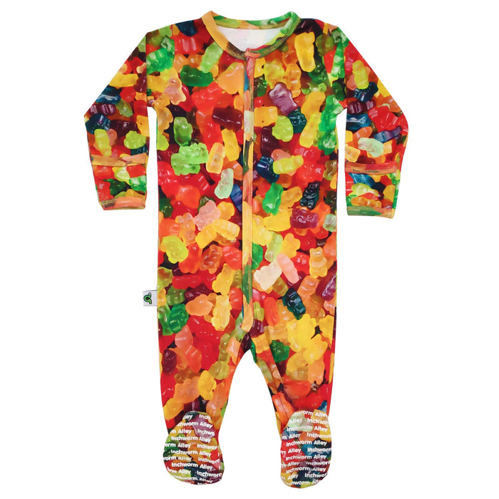 Long sleeve footie with all-over print of multicoloured gummy bears
