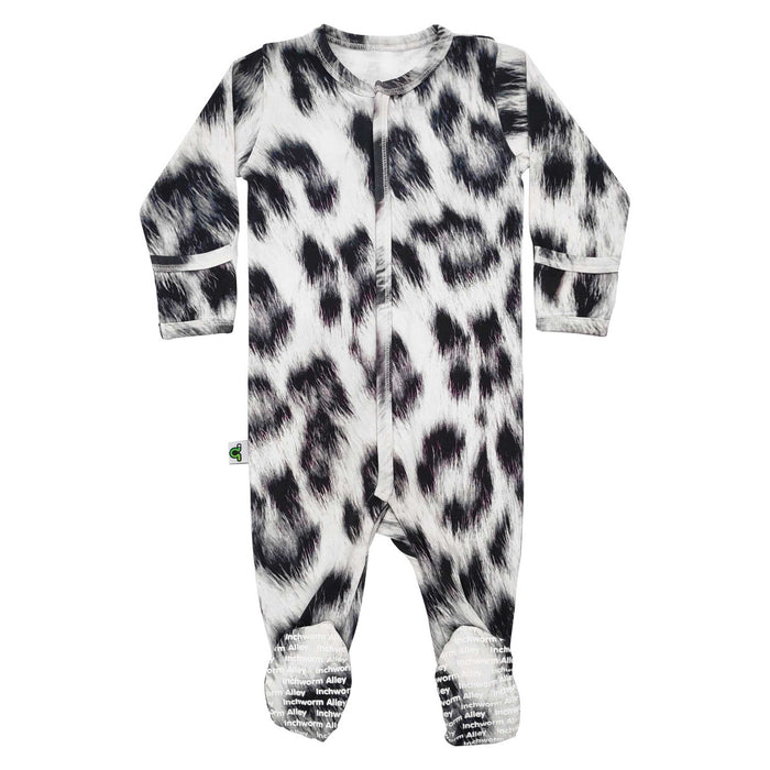 Long sleeve footie with all-over print of snow leopard fur