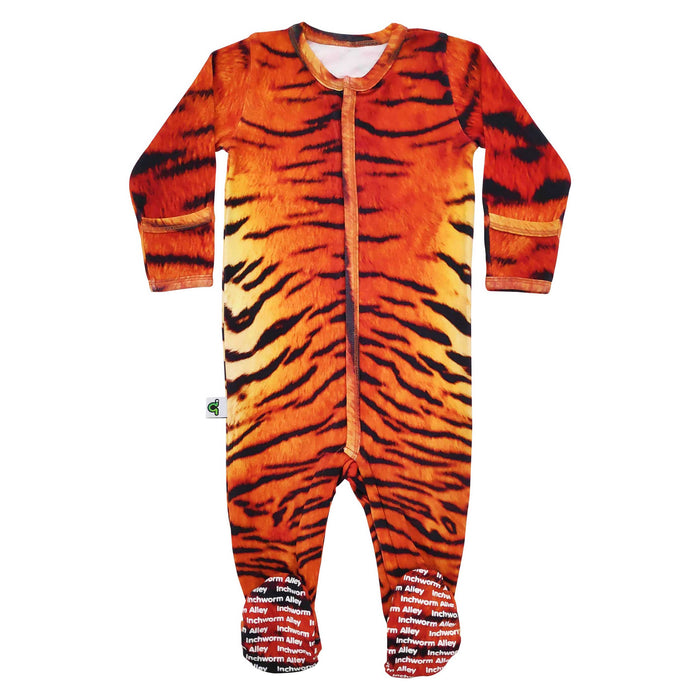 Long sleeve footie with all-over print of tiger fur