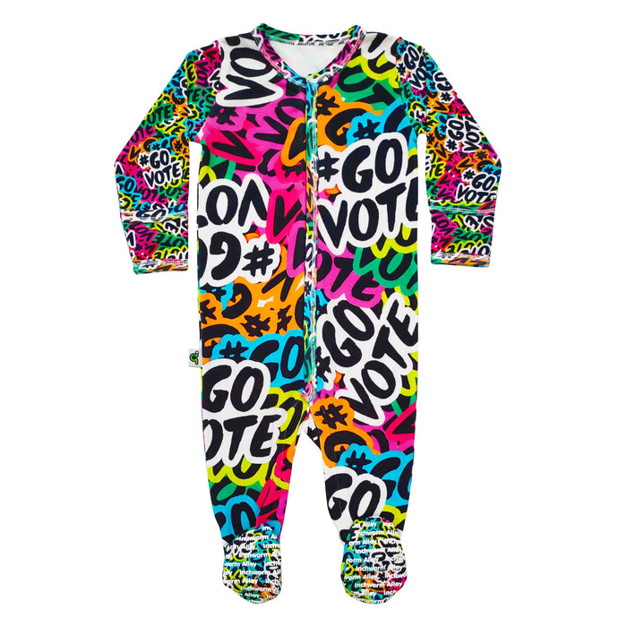 Long sleeve footie with all-over print of multicolored #GOVOTE stickers