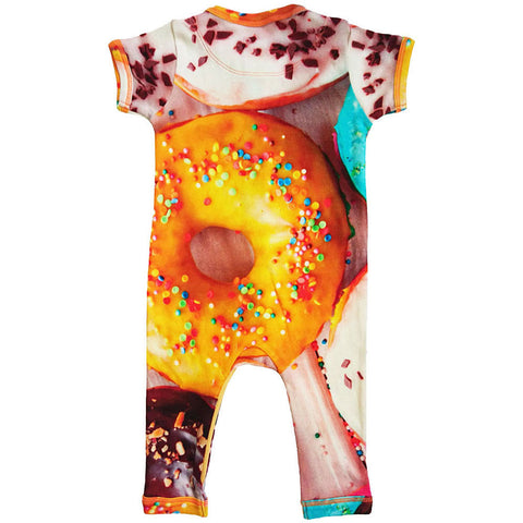 Back view of short sleeve footie with all-over print of donuts with sprinkles