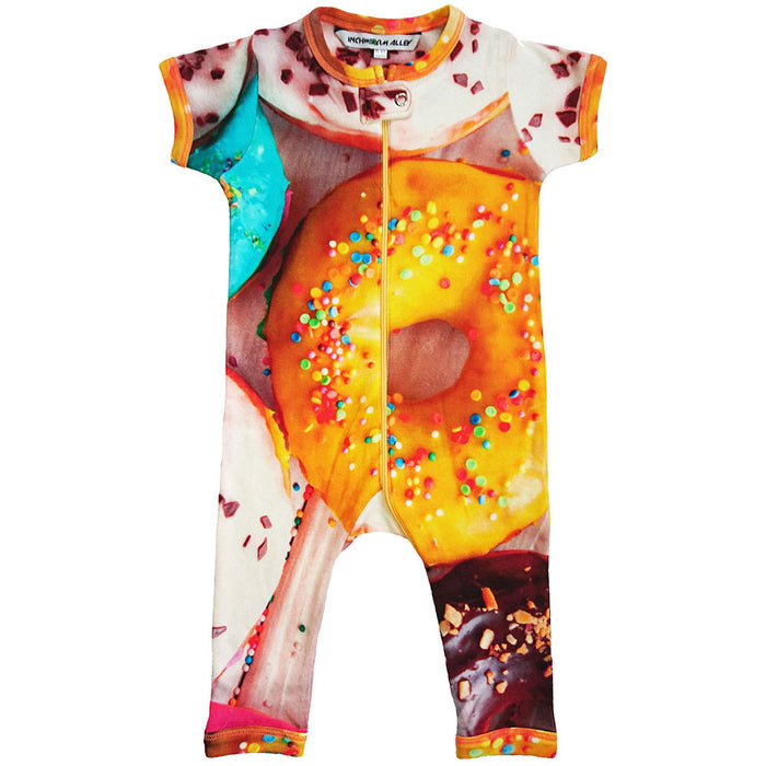 Front view of short sleeve footie with all-over print of donuts with sprinkles