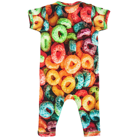 Back view of short sleeve, full leg romper with all-over print of oversized Froot Loops cereal