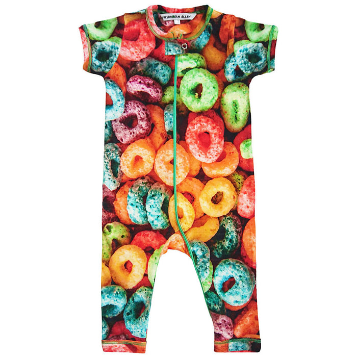 Front view of short sleeve, full leg romper with all-over print of oversized Froot Loops