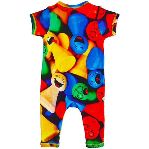 Back view of short sleeve, full leg romper with all-over print of multicoloured game pieces