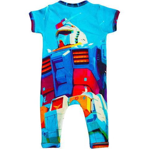 Back view of a short sleeve, full leg romper printed with a life-size Japanese robot