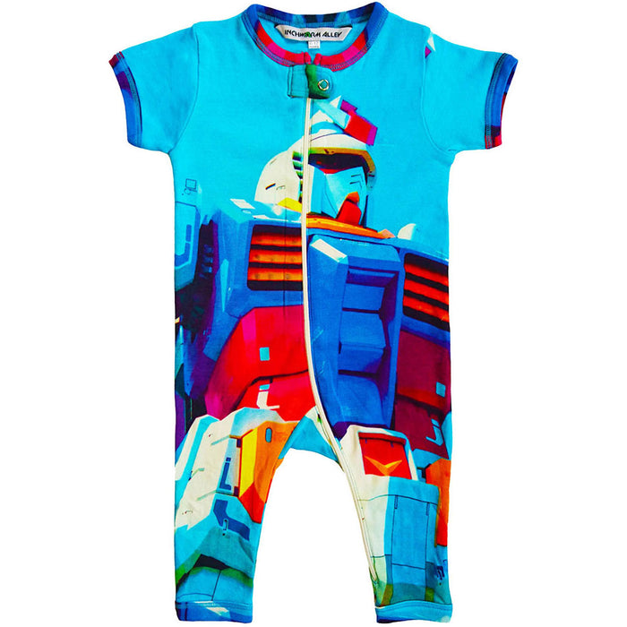 Front view of a short sleeve, full leg romper printed with a life-size Japanese robot