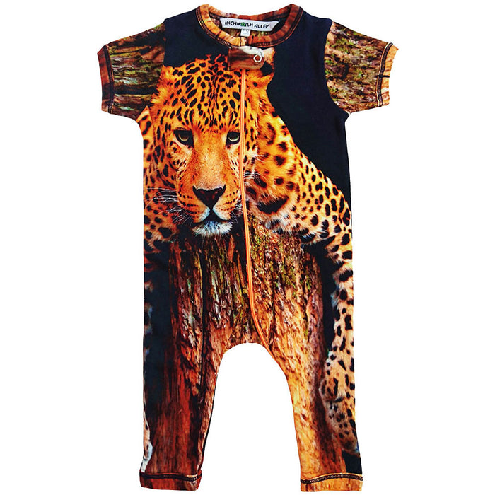 Front view of short sleeve, full leg romper with the portrait of a lounging leopard