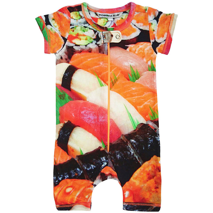 Front view of short sleeve romper with shorts printed with an image of a sushi platter