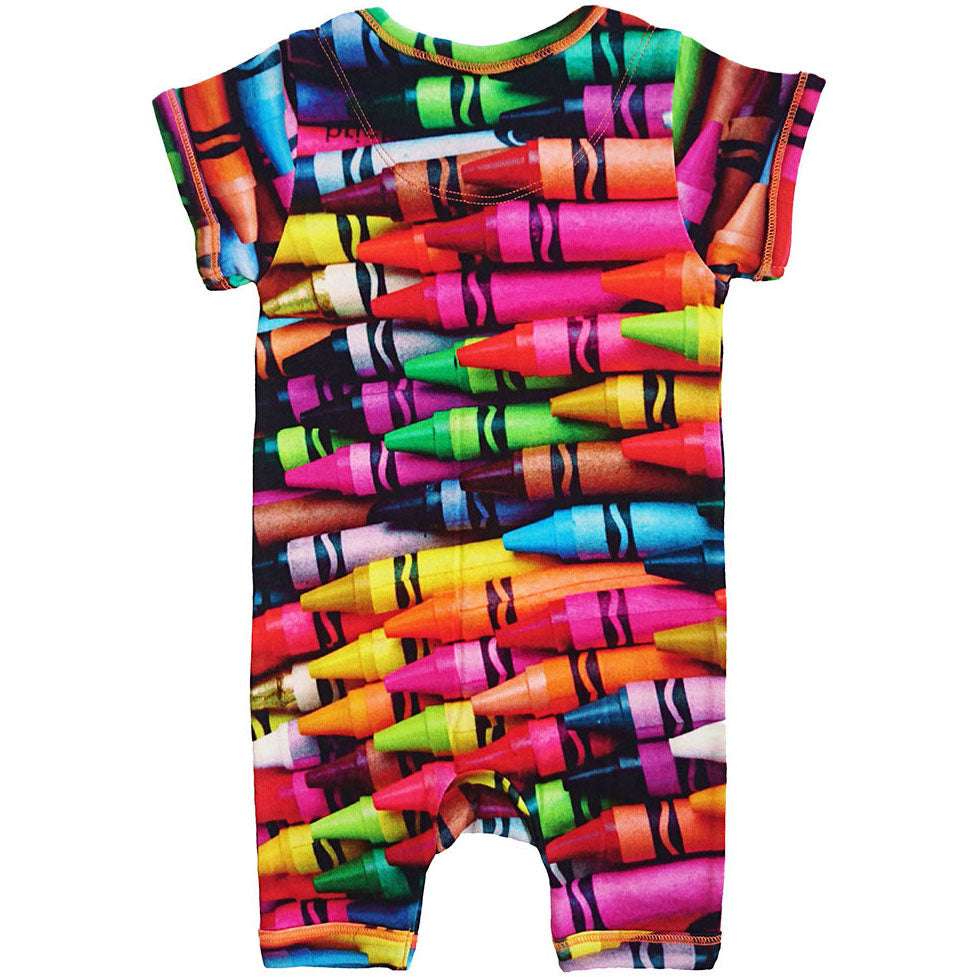 Back view of short sleeve romper with shorts and all-over print of multicoloured crayons