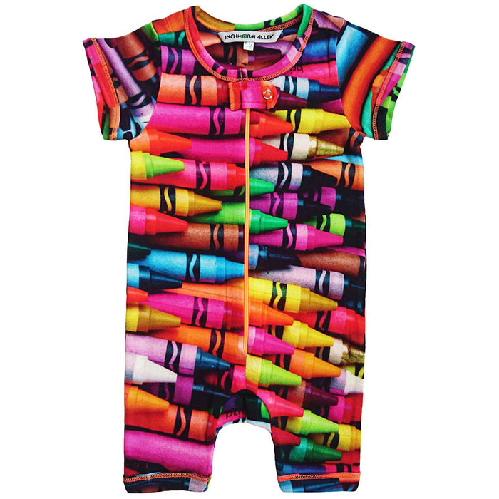 Front view of short sleeve romper with shorts and all-over print of multicoloured crayons