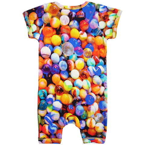 Back view of a short sleeve romper with shorts and an all-over print of multi-coloured marbles