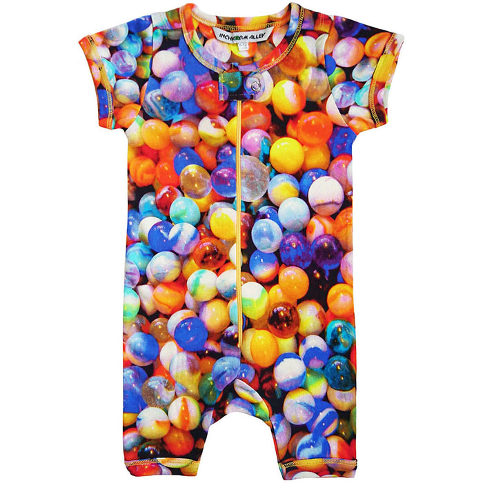 Front view of a short sleeve romper with shorts and an all-over print of multi-coloured marbles
