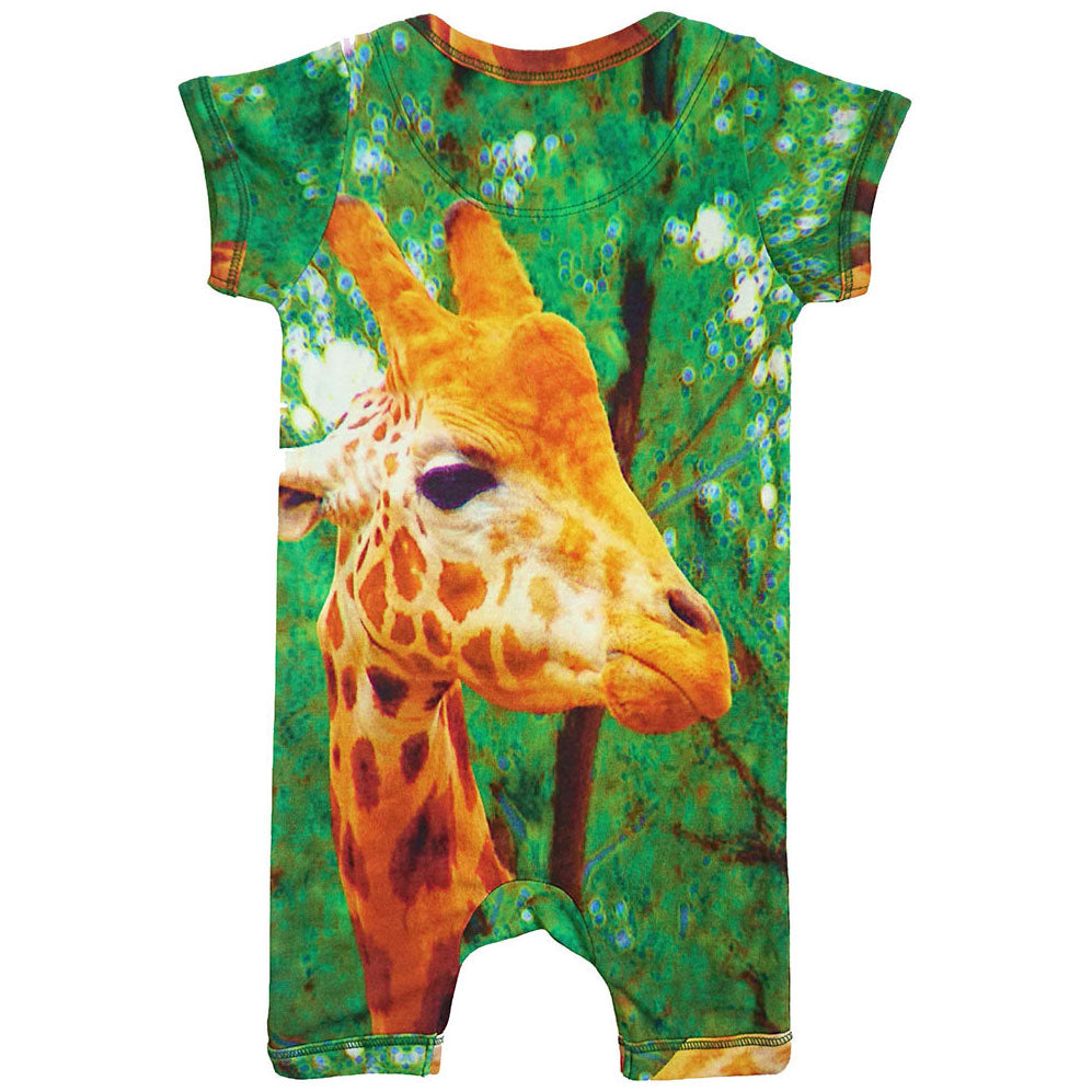 Back view of short sleeve romper with shorts and printed with a giraffe