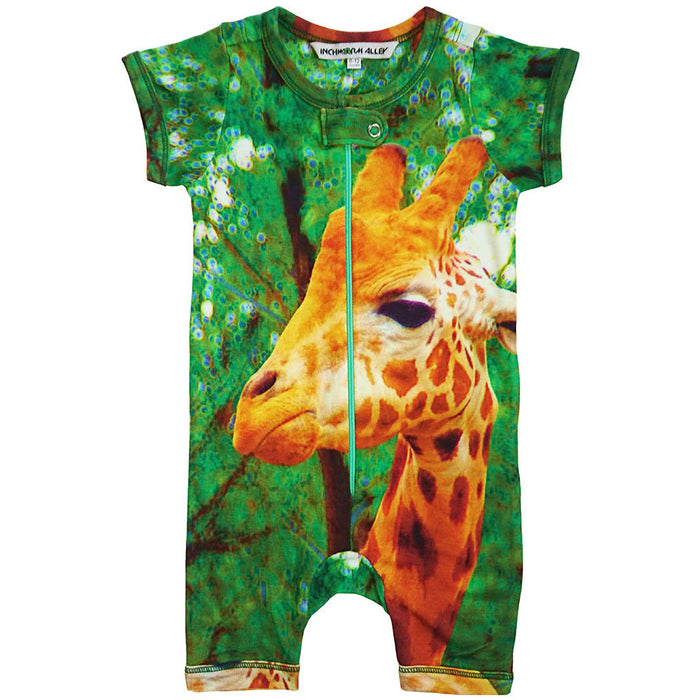 Front view of short sleeve romper with shorts and printed with a giraffe