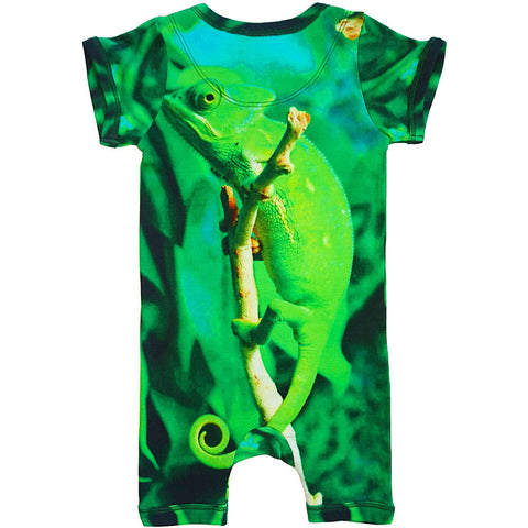 Back view of short sleeve romper with shorts printed with a cute, green chameleon