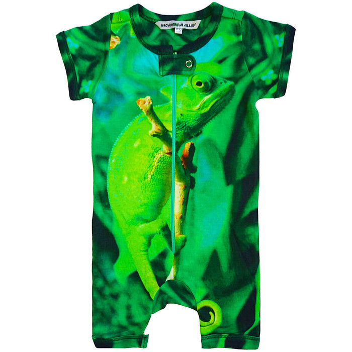 Front view of short sleeve romper with shorts printed with a cute, green chameleon