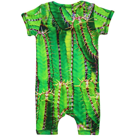 Back view of short sleeve romper with shorts printed with green cactus