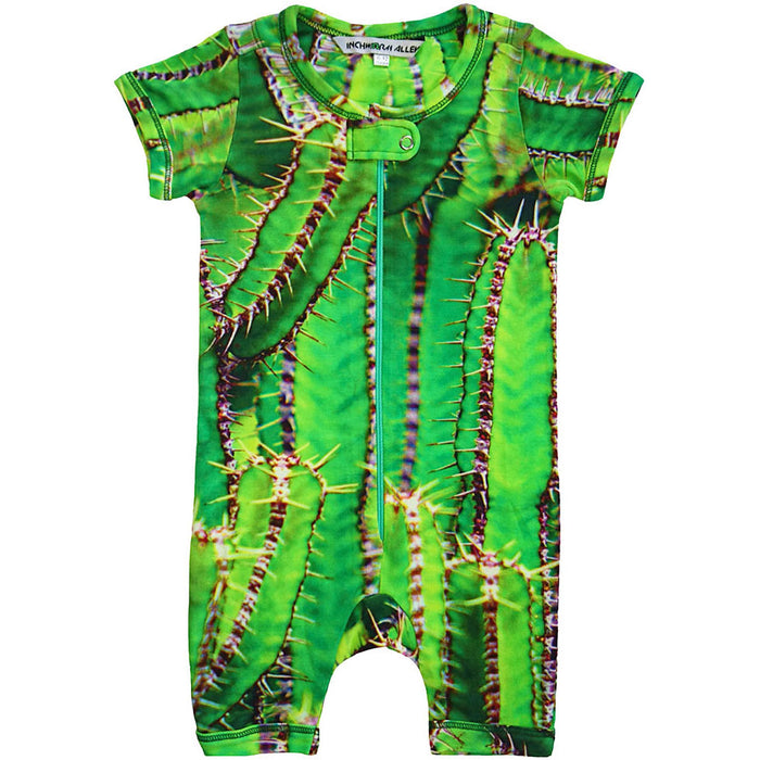 Front view of short sleeve romper with shorts printed with green cactus