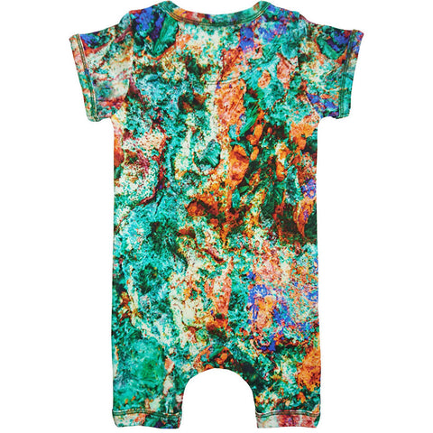 Back view of short sleeve romper with shorts printed with an image of colourful malachite rock