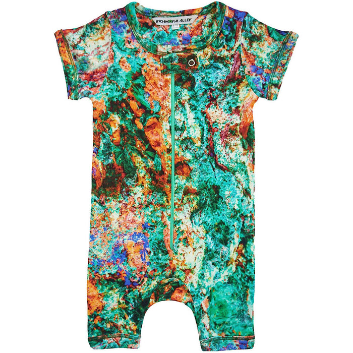 Front view of short sleeve romper with shorts printed with an image of colourful malachite rock