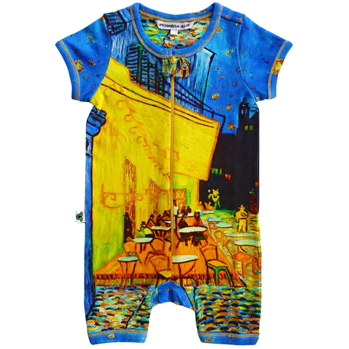 Short sleeve romper with a print of Vincent van Gogh's famed painting, Cafe Terrace at Night