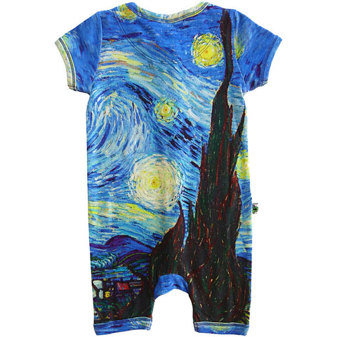 Short sleeve romper with a print of Vincent van Gogh's famed painting, The Starry Night